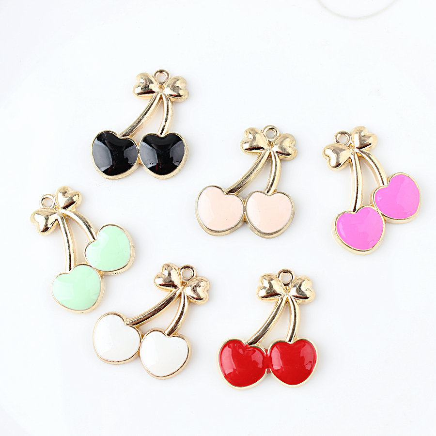 10pcs/lot 21*26mm pink Cherry pendant alloy enamel Charm DIY accessories of necklace bracelet headdress making fitting