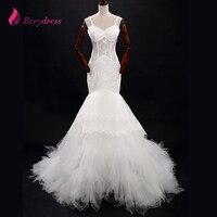 Berydress Embrlidered שמלות חתונת בת ים אפליקציות רצועות ספגטי מתוקה ללא שרוולים שכבות ארוך בת ים חתונת Gwon