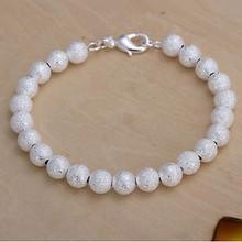 2016 Hot Silver Color Jewelry bracelet, silver plated wristlet vintage-accessories 8mm Beads Bracelet /UVFUCGUR UQXRESQOI