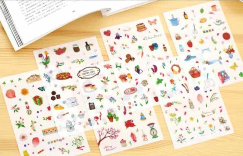 6 pcs الحياة السعيدة PVC لطيف الكرتون القرطاسية ملصقا مجموعة مذكرات الزخرفية زهرة وجميلة الأشياء