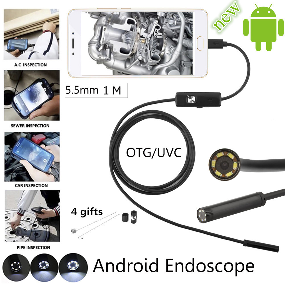 5.5mm Lens 1m/2m /3.5m/5m/10m Android USB Endoscope Camera Flexible Snake USB Pipe Inspection Android Mini Camera image