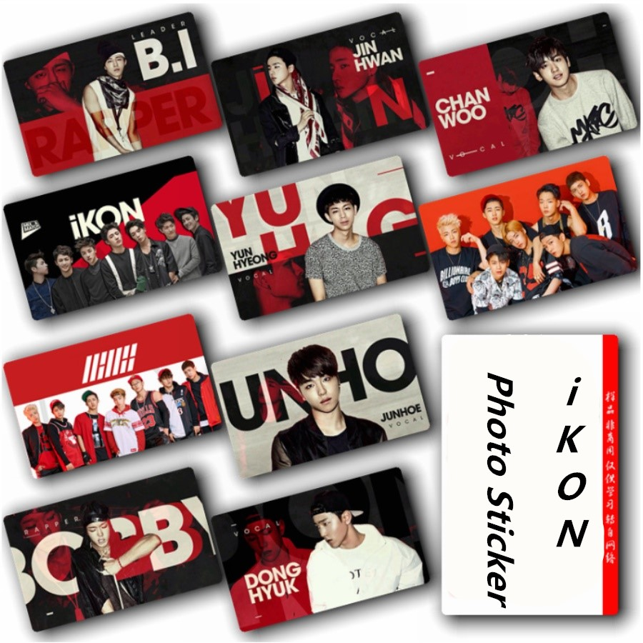 Kpop IKON Crystal Card Sticker B.I BOBBY Photo Stikcy Card Photocard HD Poster 10pcs/set
