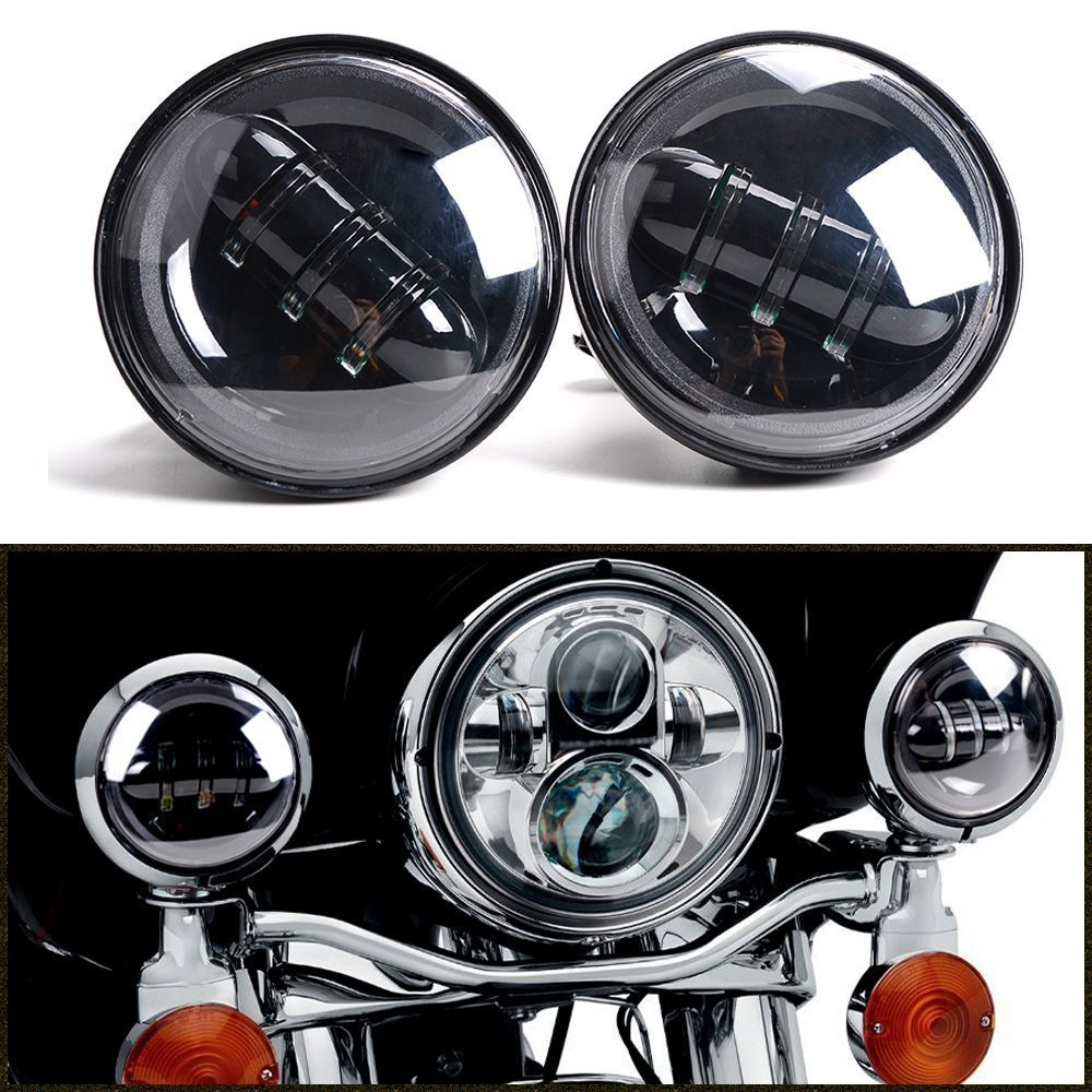 1pair 4.5inch 30W 4 in. Daymaker Projector LED Auxiliary Lamps fog light for Harley Davidson Black housing 7 inch 75w harley daymaker led headlights 2x 4 5 inch 30w fog light passing lamps for harley davidson motorcycle