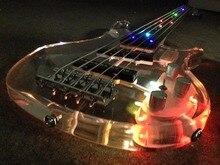 все цены на LED light 5 Strings electric bass guitar Crystal body онлайн