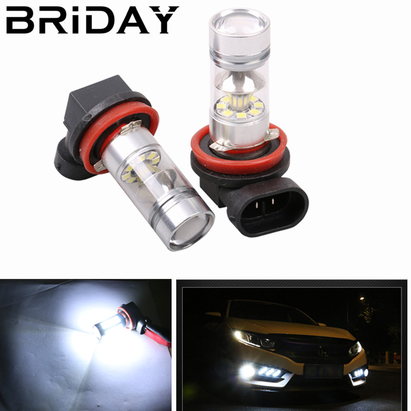 BRIDAY 1pc H11 H8 Double Curved Surface Reflector Cup LED Front Fog Lamps Car Daytime Running Light Auto Driving Bulb 12v white qvvcev 2pcs new car led fog lamps 60w 9005 hb3 auto foglight drl headlight daytime running light lamp bulb pure white dc12v