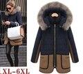 Мода ватные куртки плюс размер 6XL женские тепловой утолщение верхней одежды мм средней длины цвет блока хлопка-ватник куртка XL-6XL