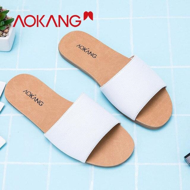 AOKANG bahar yaz kadın ayakkabısı terlik flats topuk flip flop Hakiki deri slaytlar Sandalet kadın ayakkabı Sandalias zapatos