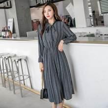 26e1f1d88 Lady Listrado Imprimir Longo Vestido de Chiffon 2019 Nova Primavera Das  Mulheres de Manga Comprida Impressão Floral Vestidos Pli.