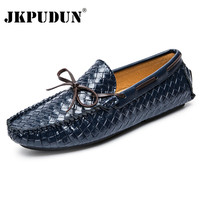 JKPUDUN Genuine Leather Men Loafers Moccasins Fashion Mens Driving Shoes Breathable Designer Casual Shoes Men High Quality Flats