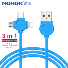 NOHON 3 in 1 USB Charger Data Sync Cable For iPhone X XS MAX XR 8 Plus Micro USB Type C Android Phone Charging Cord For Samsung pofan p04 3 in 1 micro usb 8 pin type c zinc alloy data sync charging cable for ios android devices gold