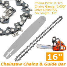 2Pcs 16 inch Guide Bar + Chainsaw Chains Semi Chisel Chain For Husqvarna 36 41 50 51 55 346XP 450 455 460 POULAN 66DL(China)