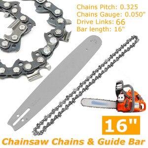 2Pcs 16 inch Guide Bar + Chainsaw Chains Semi Chisel Chain For Husqvarna 36 41 50 51 55 346XP 450 455 460 POULAN 66DL(China)