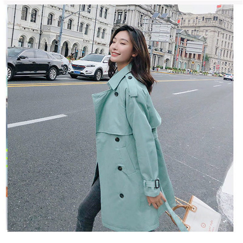 Abrigos Spring Fall 2019 Korean Fashion Double Breasted Mid-long   Trench   Coat Mujer Loose Belt large size Windbreak Outwear f850
