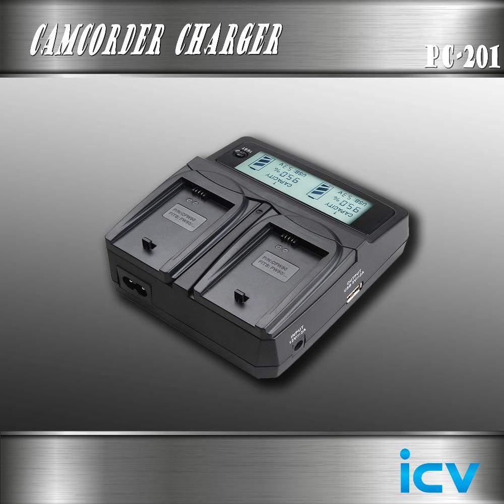 цена на icv NP-FM50 NPFM50 Battery Camera Dual Car + Camera Charger USB Port For Sony NP-F970 NP-F960 NP-F950 NP-F550 FM50 FM70 FM90