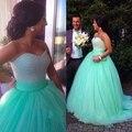 Vestido de Baile querida Mangas Até O Chão-de Tule Quinceanera Vestido Beads Vestido de Baile Verde Menta Trem Curto Para Festa de Casamento