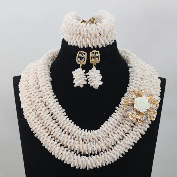 Graceful White African Bridal Beads Jewelry Set Nigerian Crystal Rhinestone Bridesmaid Women Wedding Necklace Free Ship QW677