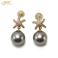 JYX Elegant lovely starfish natural Tahiti Pearl Earring 14K Gold 10mm Black Tahitian Cultured Pearl Drop Earrings women gift