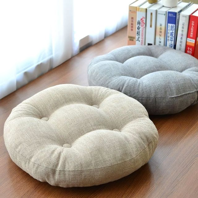 Linen Futon Thickening Circle Large Floor Cushion Japanese Style Balcony Seat  Cushion