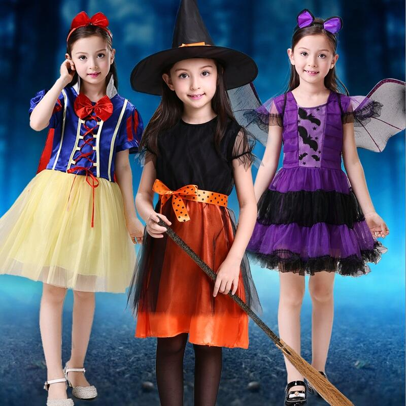 Girls Halloween Costume Princess Snow White Gothic Witch Castle Bat Wings Cosplay Dress Kids Party Ball Gown Cloak Tutu Dress
