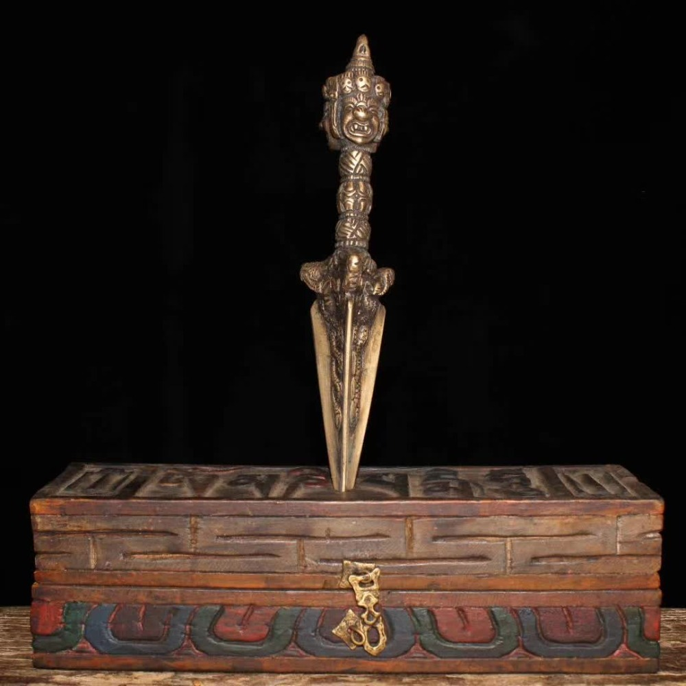 100% old items from Tibet Buddhism, Bronze Sword /Ritual Dagger musical instruments sculpture with wood box Six-word mantra