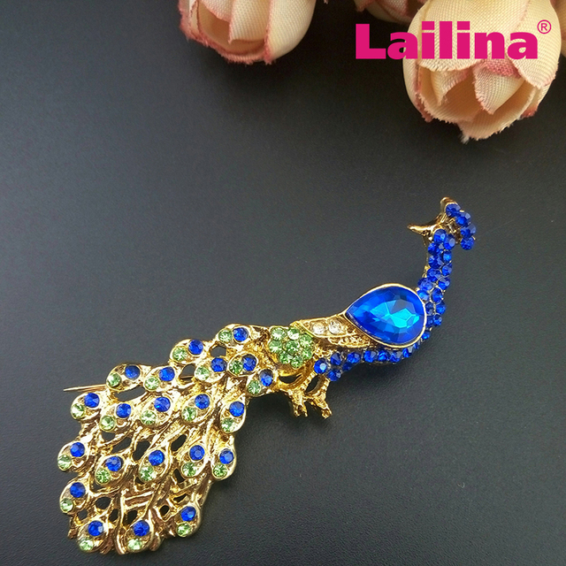 Multi Color Vintage Blue Peacock Brooch Gold Tone Wedding Dress Peacock  Animal Brooch Decoration 4fb8af6accc3