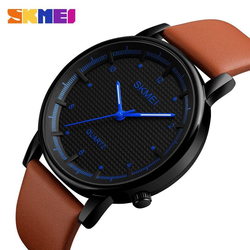 0e18370e0f4 SKMEI Moda Simples Relógio De Quartzo Analógico Homens Relógios Pulseira De  Couro À Prova D