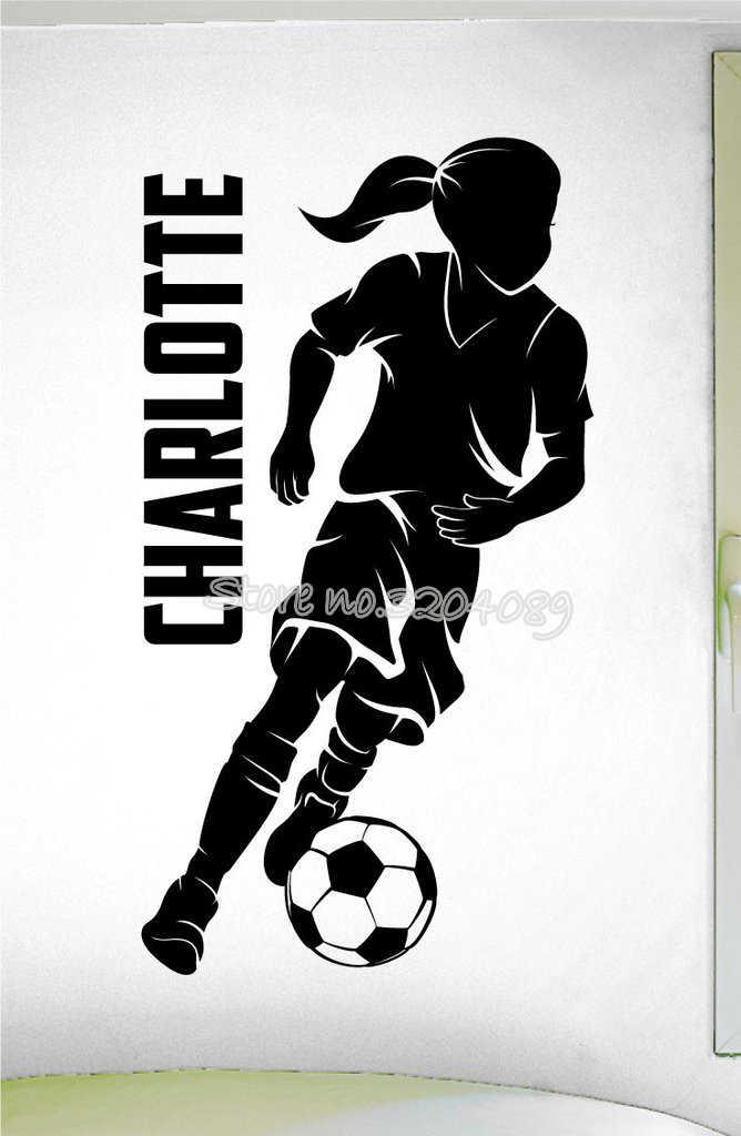 personalized girls soccer dribbling sport decal custom girls name