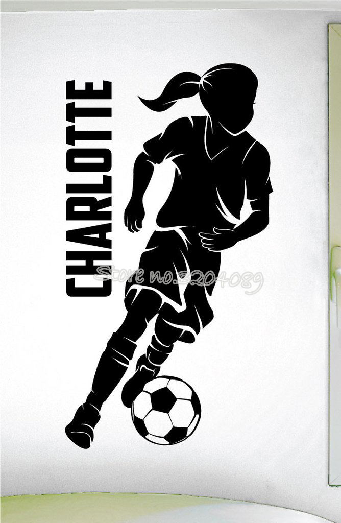 Personalized Girls Soccer Dribbling Sport Decal Custom Girls Name Wall Sticker Girl Silhouette Bedroom Wallpaper Art Decor Ea631 Wall Stickers Aliexpress