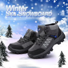 Men and Women warm  Boots Fashion Unisex Brand Winter Ankle Boots Waterproof Snow Shoes Big Size Suede Leather 45 46