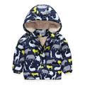 Autumn Winter Casual Baby Boy Coat Dinosaur Printing Hooded Zipper Boys Jacket Long Sleeve Toddlers Kids Outerwear