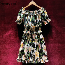 Svoryxiu Womens Summer Runway 100% cotton lily Flower Print Dress Elastic Waist Puff Sleeve Ruffles Sexy Off Shoulder Dresses