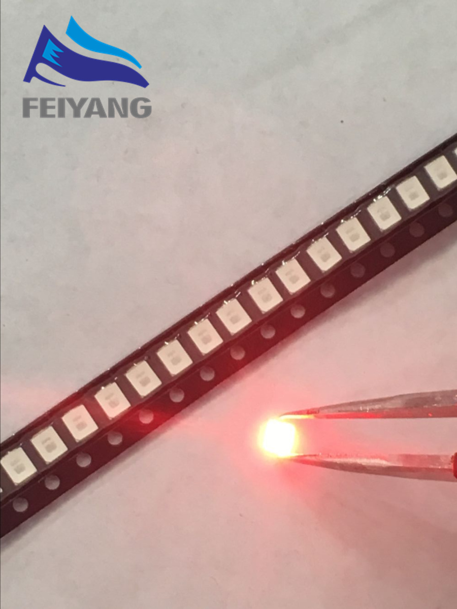 100pcs 12-20lm 2835 Red Smd Led 0.2w High Bright Light Emitting Diode Chip Leds 620-625nm Plcc-2 60ma Smd/smt 3528 Red Active Components