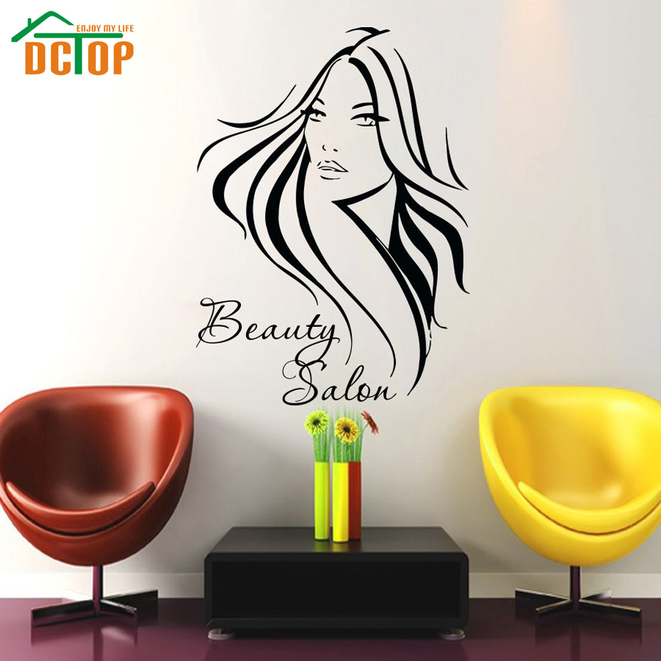 dctop barber shop long hair woman art wall sticker beauty salon removable vinyl decals home. Black Bedroom Furniture Sets. Home Design Ideas