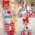 Moda Bonito Do Bebê Recém-nascido Menina Menino Bodysuit Coração Leg Warmer Outfits Conjuntos de Roupas de Natal
