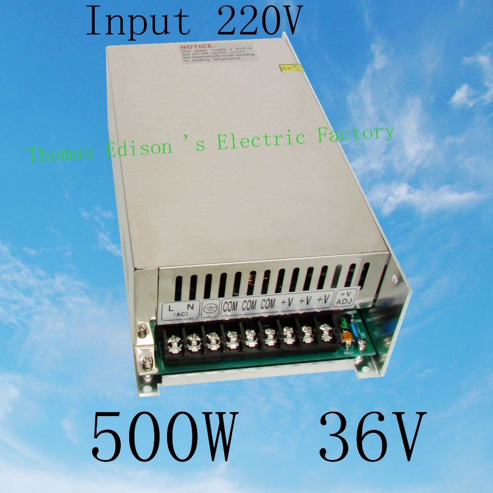500W36V 13.8A 220V INPUT Single Output Switching power supply for LED Strip light AC to DC led power supply driver S-500-36 ac 85v 265v to 20 38v 600ma power supply driver adapter for led light lamp