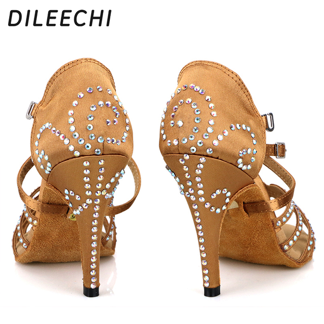 DILEECHI female Bronze red satin Latin dance shoes women s Rhinestones Salsa  party Wedding shoes10cm high heeled soft outsole free shipping worldwide 7018ec590e1a