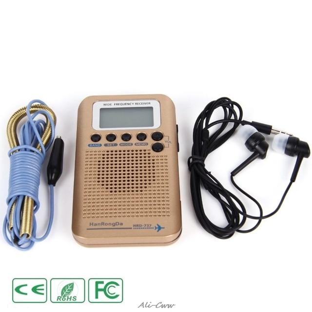 HRD 737 digital display lcd rádio banda completa portátil fm/am/sw/cb/ar/vhf mundo banda receptor estéreo rádio com despertador