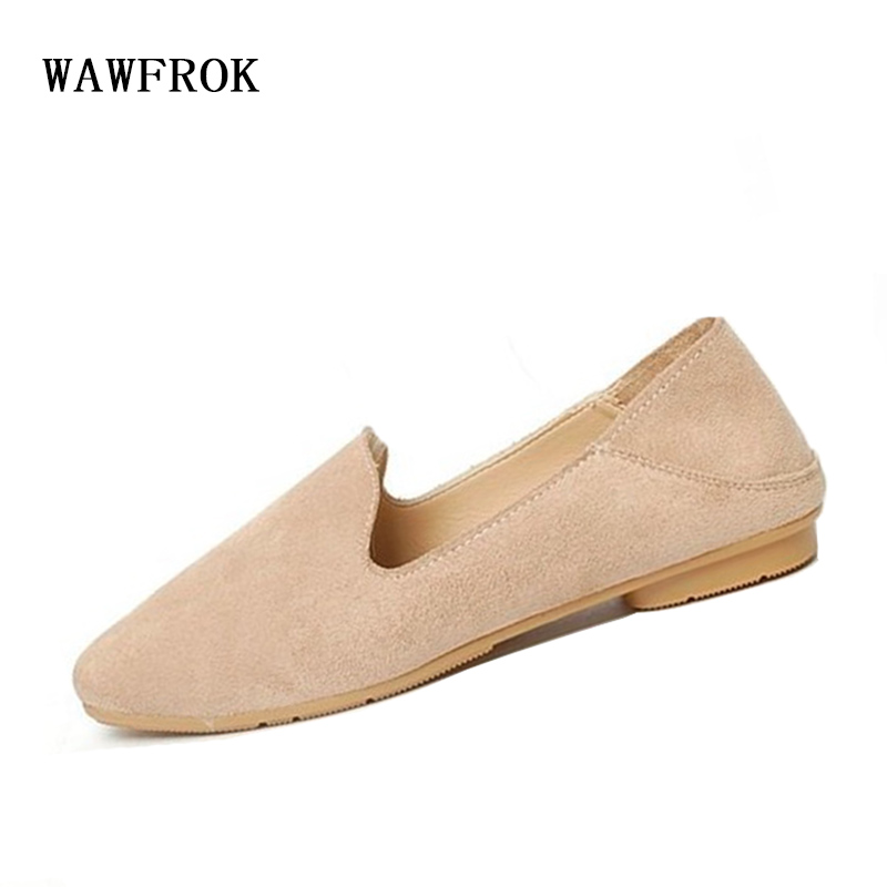 WAWFROK Women Flats Shoes 2018 Spring Summer Breathable Women Casual Shoes Flock Square Toe Loafers spring summer flock women flats shoes female round toe casual shoes lady slip on loafers shoes plus size 40 41 42 43 gh8