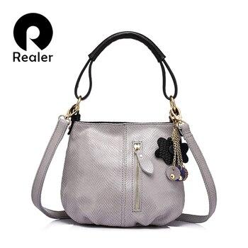 REALER brand new arrival women genuine leather handbag ladies melon grain pattern shoulder bag fashion women small hobos bag Сумка