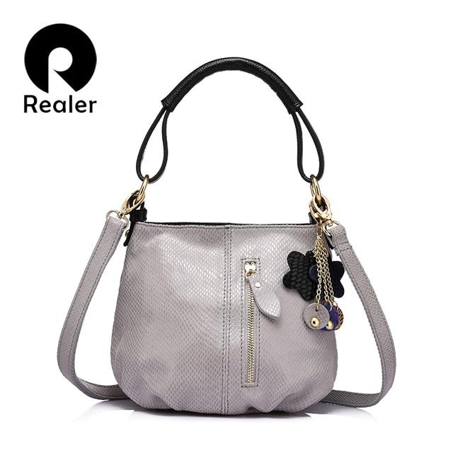 REALER brand new arrival women genuine leather handbag ladies melon grain pattern shoulder bag fashion women small hobos bag