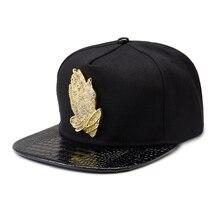 цены Rhinestone Metal Praying Hands Baseball Cap Adjustable Snapback Hats Gorras Hip Hop Style for Women Men Black Red Blue Caps