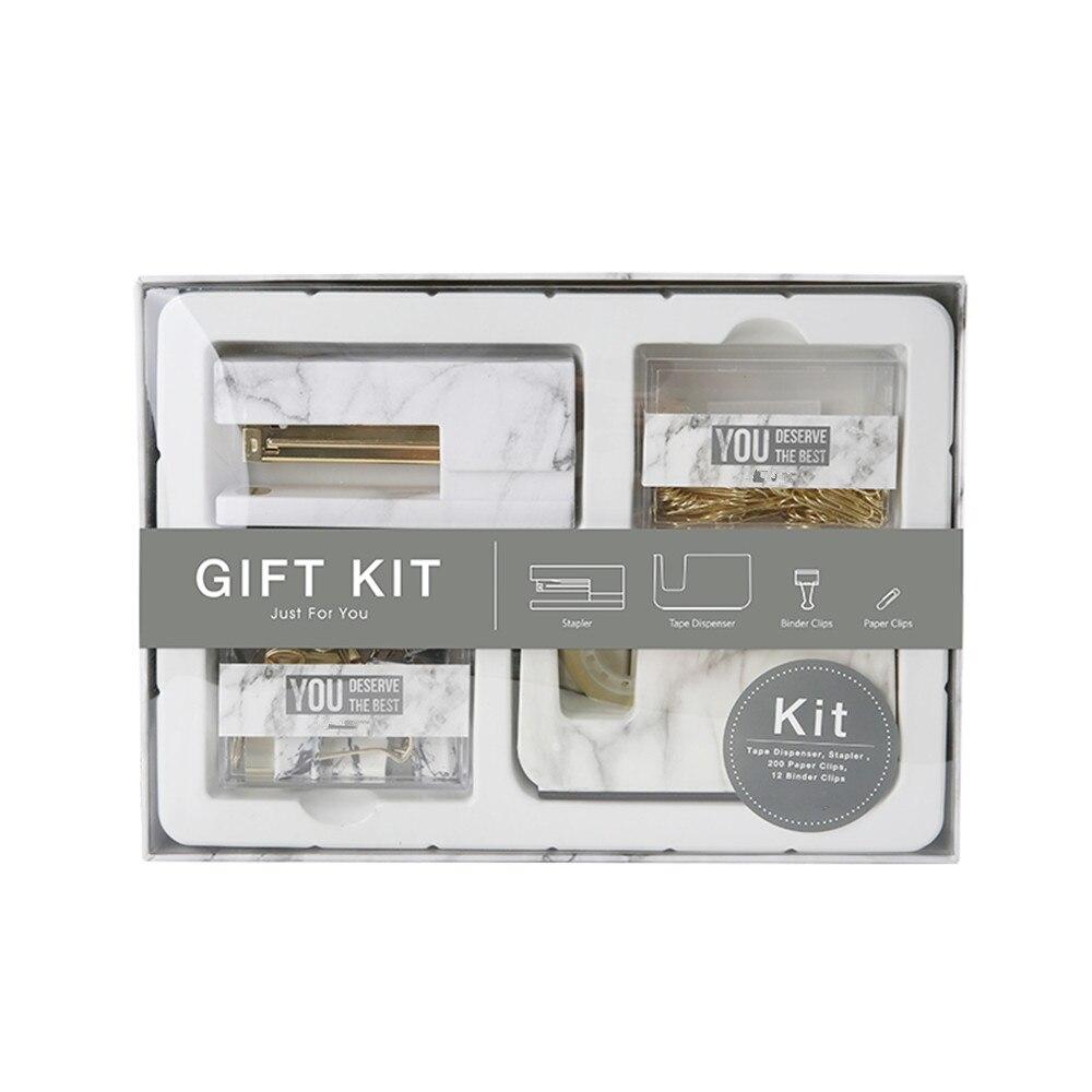 Kit cadeau de bureau en marbre blanc agrafeuse porte-ruban adhésif trombones Clips de reliure l'ensemble de papeterie de fournitures de bureau et scolaires