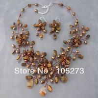 Stunning Brown Bronze Tiger's Eye Natural Freshwater Pearl Necklace 925 Silver Flower Earrings 18'' 4 16mm Jewelry Set Hot Sale