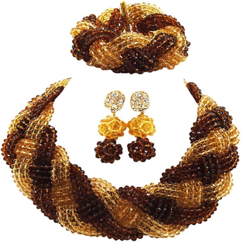 купить Well Received Brown Champagne Gold Classic Nigerian Women Wedding Beads Jewelry Sets 12C-BZ-07 по цене 5068.13 рублей