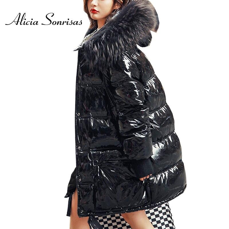 Women Winter   Down   Jacket   Coat   New 2019 Real Raccoon Fur Long Warm Silver Parkas Mongolia Sheep Fur Duck   Down     Coat   Parkas Y88811