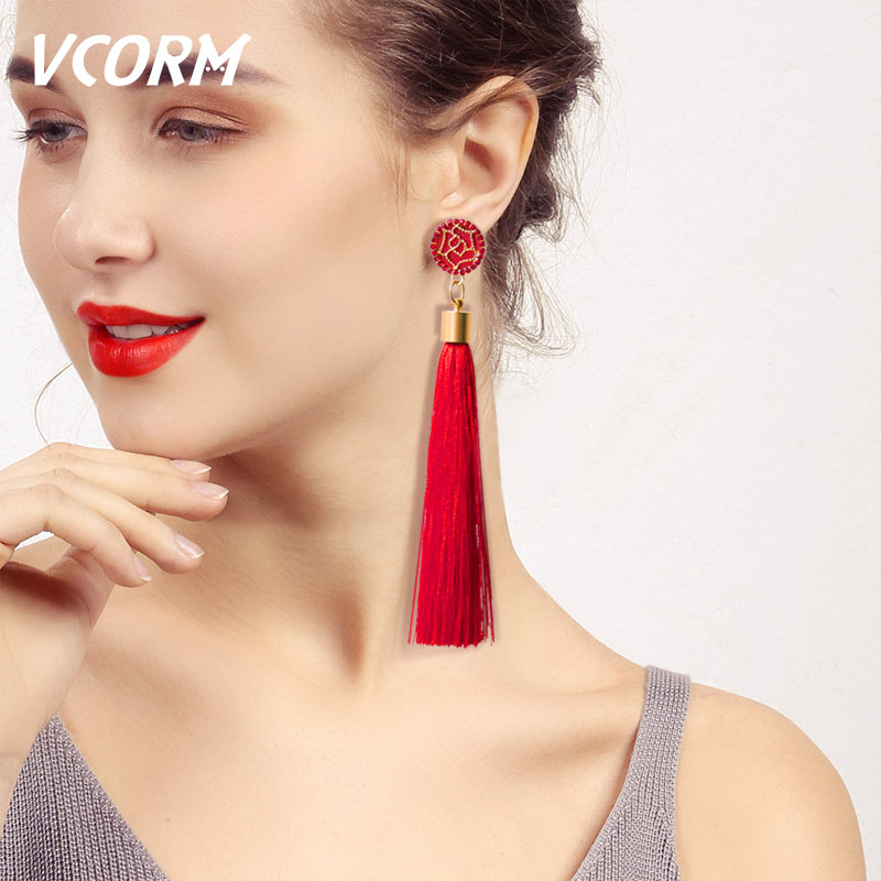 VCORM Bohemian Tassel Crystal Long Drop Earrings for Women Red Cotton Silk Fabric Fringe Earrings 2019