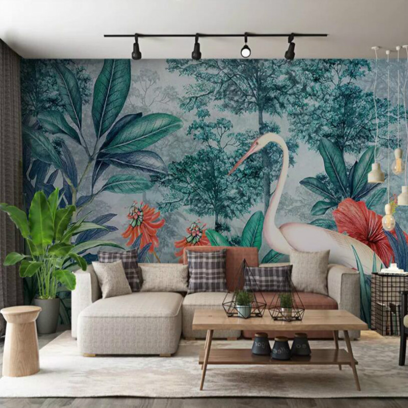 Custom 3d Wallpaper for Walls Home Improvement Silk Wallpapesr Hand drawn tropical rainforest banana leaf flamingo Home Improvement