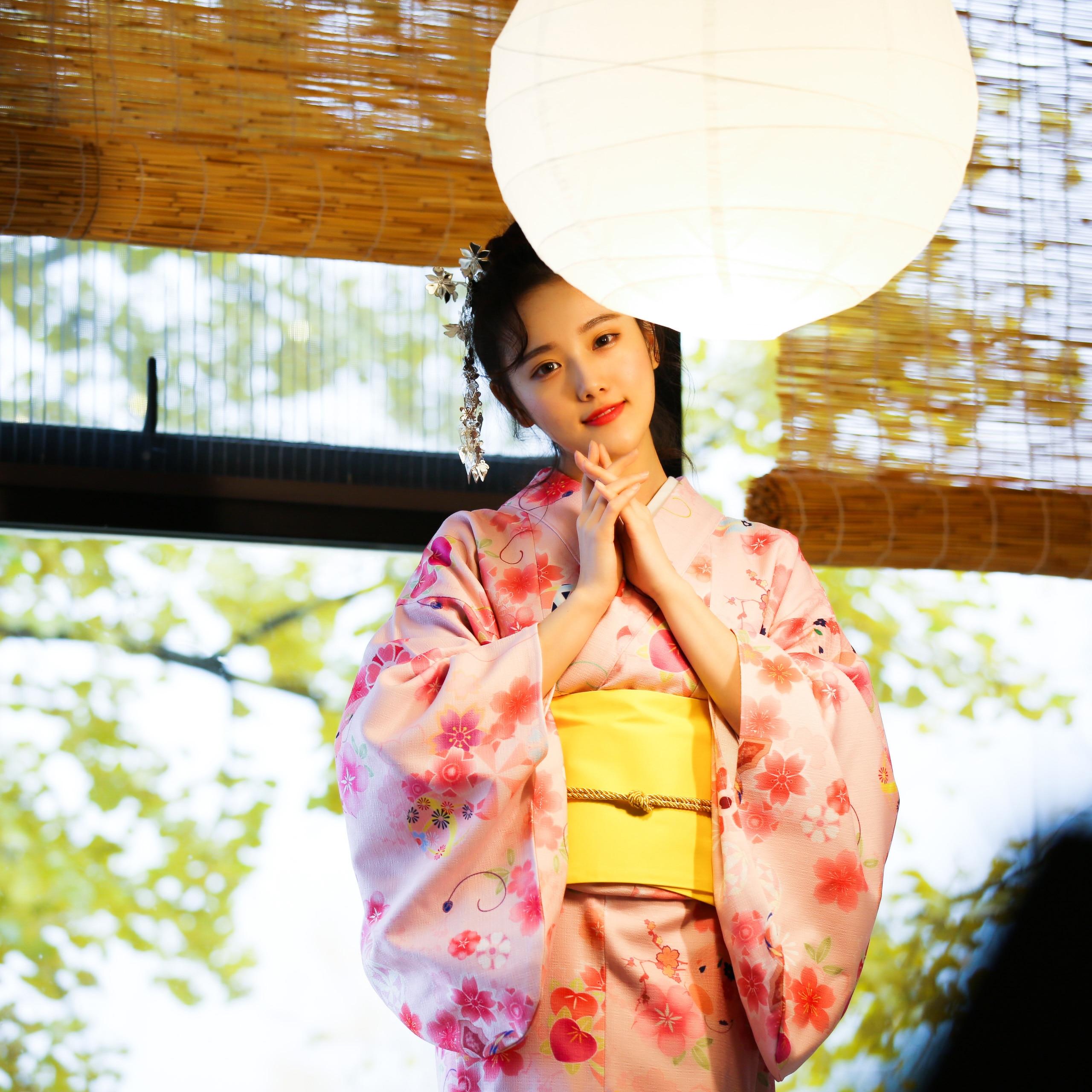 Pink Printed Japanese Girls Formal Dress Vintage Kimono Yukata Halloween Party Women Cosplay Costume Elegant Robe With Obi