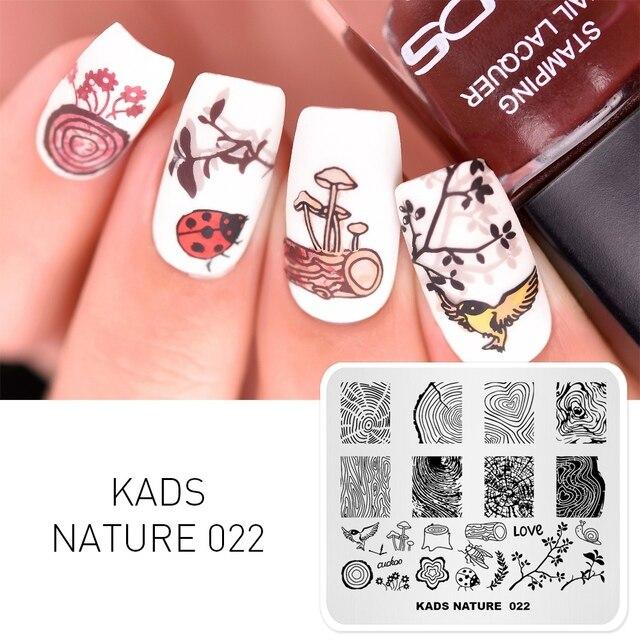 KADS naturaleza 022 del clavo alegre diseños de uñas de arte sello plantilla placa de imagen de manicura bricolaje accesorios de decoración
