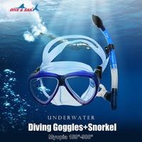 Diving Goggles Silicone diving Mask Snorkeling Anti fog Glasses+ Snorkel Set Snorkeling equipment Diving Scuba Anti Fog Goggles